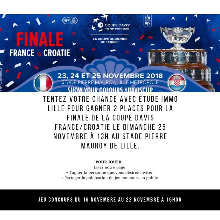 Tentez de gagner 2 places pour la Coupe Finale de la Coupe Davis FRANCE/CROATIE le Dimanche 25 Novembre à 13h avec ETUDE IMMO LILLE.
